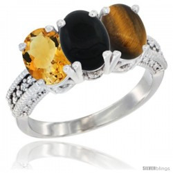 14K White Gold Natural Citrine, Black Onyx & Tiger Eye Ring 3-Stone 7x5 mm Oval Diamond Accent