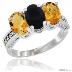 14K White Gold Natural Citrine, Black Onyx & Whisky Quartz Ring 3-Stone 7x5 mm Oval Diamond Accent
