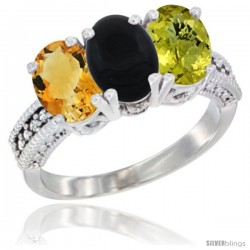 14K White Gold Natural Citrine, Black Onyx & Lemon Quartz Ring 3-Stone 7x5 mm Oval Diamond Accent