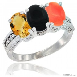 14K White Gold Natural Citrine, Black Onyx & Coral Ring 3-Stone 7x5 mm Oval Diamond Accent