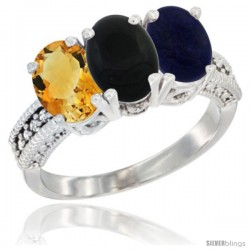 14K White Gold Natural Citrine, Black Onyx & Lapis Ring 3-Stone 7x5 mm Oval Diamond Accent