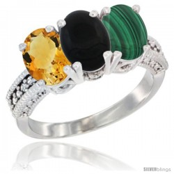 14K White Gold Natural Citrine, Black Onyx & Malachite Ring 3-Stone 7x5 mm Oval Diamond Accent
