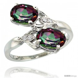 14k White Gold ( 8x6 mm ) Double Stone Engagement Mystic Topaz Ring w/ 0.04 Carat Brilliant Cut Diamonds & 2.34 Carats Oval Cut