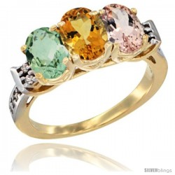 10K Yellow Gold Natural Green Amethyst, Citrine & Morganite Ring 3-Stone Oval 7x5 mm Diamond Accent