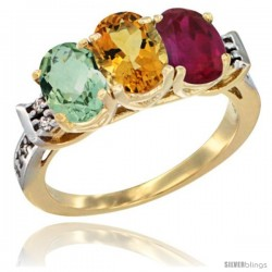 10K Yellow Gold Natural Green Amethyst, Citrine & Ruby Ring 3-Stone Oval 7x5 mm Diamond Accent