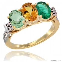 10K Yellow Gold Natural Green Amethyst, Citrine & Emerald Ring 3-Stone Oval 7x5 mm Diamond Accent