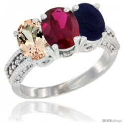10K White Gold Natural Morganite, Ruby & Lapis Ring 3-Stone Oval 7x5 mm Diamond Accent