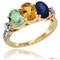 10K Yellow Gold Natural Green Amethyst, Citrine & Blue Sapphire Ring 3-Stone Oval 7x5 mm Diamond Accent