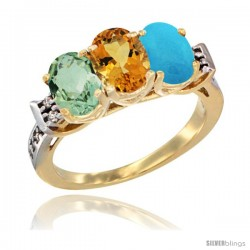 10K Yellow Gold Natural Green Amethyst, Citrine & Turquoise Ring 3-Stone Oval 7x5 mm Diamond Accent