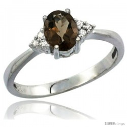 10K White Gold Natural Smoky Topaz Ring Oval 7x5 Stone Diamond Accent