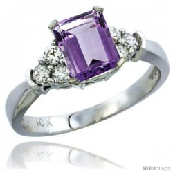 14k White Gold Ladies Natural Amethyst Ring Emerald-shape 7x5 Stone Diamond Accent