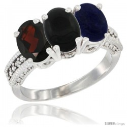 14K White Gold Natural Garnet, Black Onyx & Lapis Ring 3-Stone 7x5 mm Oval Diamond Accent