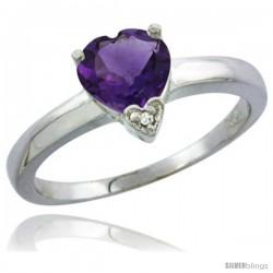 14K White Gold Natural Amethyst Heart-shape 7x7 Stone Diamond Accent