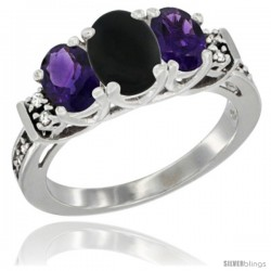 14K White Gold Natural Black Onyx & Amethyst Ring 3-Stone Oval with Diamond Accent