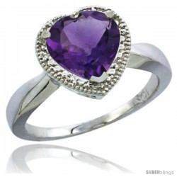 14k White Gold Ladies Natural Amethyst Ring Heart-shape 8x8 Stone Diamond Accent
