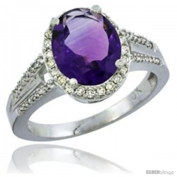 14k White Gold Ladies Natural Amethyst Ring oval 10x8 Stone Diamond Accent