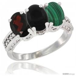 14K White Gold Natural Garnet, Black Onyx & Malachite Ring 3-Stone 7x5 mm Oval Diamond Accent