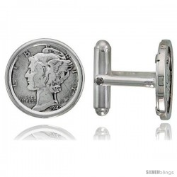 Sterling Silver Mercury Dime (1916 - 1945) Coin Cufflinks Prong Back Polished Bezel w/ Gift Box