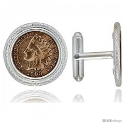 Sterling Silver Indian Head Cent (1859 - 1909) Coin Cufflinks Prong Back Pipe Bezel w/ Gift Box