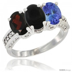 14K White Gold Natural Garnet, Black Onyx & Tanzanite Ring 3-Stone 7x5 mm Oval Diamond Accent