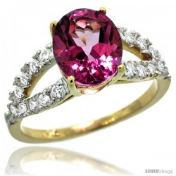 14k Gold Natural Pink Topaz Ring 10x8 mm Oval Shape Diamond Accent, 3/8inch wide -Style R314531y06