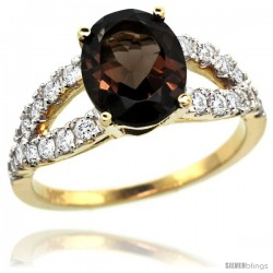 14k Gold Natural Smoky Topaz Ring 10x8 mm Oval Shape Diamond Accent, 3/8inch wide -Style R314531y07