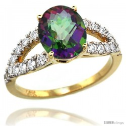 14k Gold Natural Mystic Topaz Ring 10x8 mm Oval Shape Diamond Accent, 3/8inch wide -Style R314531y08