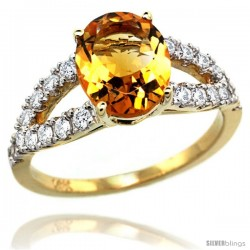 14k Gold Natural Citrine Ring 10x8 mm Oval Shape Diamond Accent, 3/8inch wide -Style R314531y09