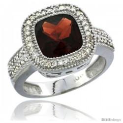 14k White Gold Ladies Natural Garnet Ring Cushion-cut 4 ct. 8x8 Stone Diamond Accent
