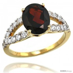 14k Gold Natural Garnet Ring 10x8 mm Oval Shape Diamond Accent, 3/8inch wide -Style R314531y10