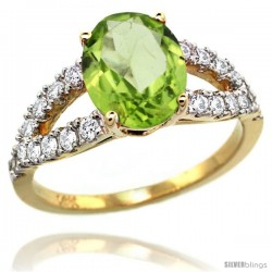 14k Gold Natural Peridot Ring 10x8 mm Oval Shape Diamond Accent, 3/8inch wide -Style R314531y11