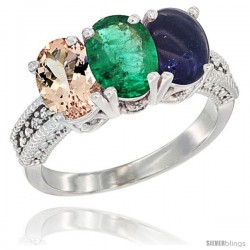 10K White Gold Natural Morganite, Emerald & Lapis Ring 3-Stone Oval 7x5 mm Diamond Accent