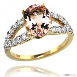 14k Gold Natural Morganite Ring 10x8 mm Oval Shape Diamond Accent, 3/8inch wide -Style R314531y13