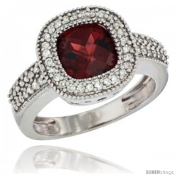 14k White Gold Ladies Natural Garnet Ring Cushion-cut 3.5 ct. 7x7 Stone Diamond Accent