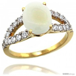 14k Gold Natural Opal Ring 10x8 mm Oval Shape Diamond Accent, 3/8inch wide -Style R314531y20