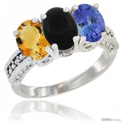 14K White Gold Natural Citrine, Black Onyx & Tanzanite Ring 3-Stone 7x5 mm Oval Diamond Accent