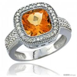14k White Gold Ladies Natural Citrine Ring Cushion-cut 4 ct. 8x8 Stone Diamond Accent