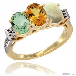 10K Yellow Gold Natural Green Amethyst, Citrine & Opal Ring 3-Stone Oval 7x5 mm Diamond Accent