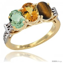 10K Yellow Gold Natural Green Amethyst, Citrine & Tiger Eye Ring 3-Stone Oval 7x5 mm Diamond Accent