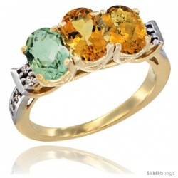 10K Yellow Gold Natural Green Amethyst, Citrine & Whisky Quartz Ring 3-Stone Oval 7x5 mm Diamond Accent