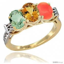 10K Yellow Gold Natural Green Amethyst, Citrine & Coral Ring 3-Stone Oval 7x5 mm Diamond Accent