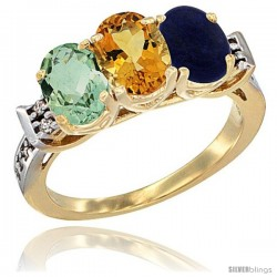 10K Yellow Gold Natural Green Amethyst, Citrine & Lapis Ring 3-Stone Oval 7x5 mm Diamond Accent