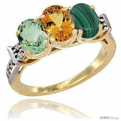 10K Yellow Gold Natural Green Amethyst, Citrine & Malachite Ring 3-Stone Oval 7x5 mm Diamond Accent