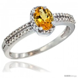 14k White Gold Ladies Natural Citrine Ring oval 6x4 Stone Diamond Accent -Style Cw409178
