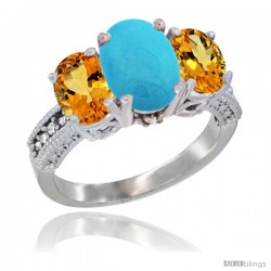 14K White Gold Ladies 3-Stone Oval Natural Turquoise Ring with Citrine Sides Diamond Accent
