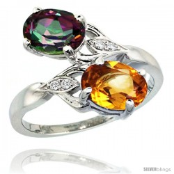 14k White Gold ( 8x6 mm ) Double Stone Engagement Mystic Topaz & Citrine Ring w/ 0.04 Carat Brilliant Cut Diamonds & 2.34