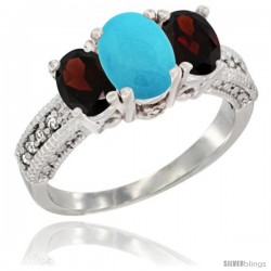 14k White Gold Ladies Oval Natural Turquoise 3-Stone Ring with Garnet Sides Diamond Accent