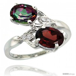 14k White Gold ( 8x6 mm ) Double Stone Engagement Mystic Topaz & Garnet Ring w/ 0.04 Carat Brilliant Cut Diamonds & 2.34 Carats