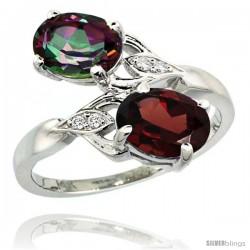 14k White Gold ( 8x6 mm ) Double Stone Engagement Mystic Topaz & Garnet Ring w/ 0.04 Carat Brilliant Cut Diamonds & 2.34 Carats