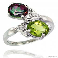 14k White Gold ( 8x6 mm ) Double Stone Engagement Mystic Topaz & Peridot Ring w/ 0.04 Carat Brilliant Cut Diamonds & 2.34